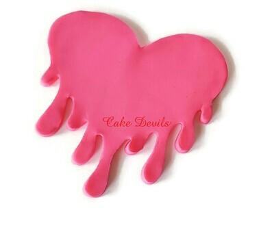 Fondant Dripping Heart Cake Topper, Valentine's Day Drip Heart Cake
