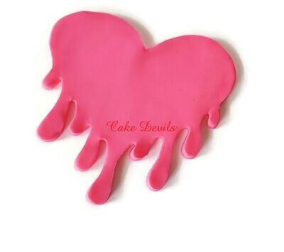 Fondant Dripping Heart Cake Topper, Valentine's Day Drip Heart Cake