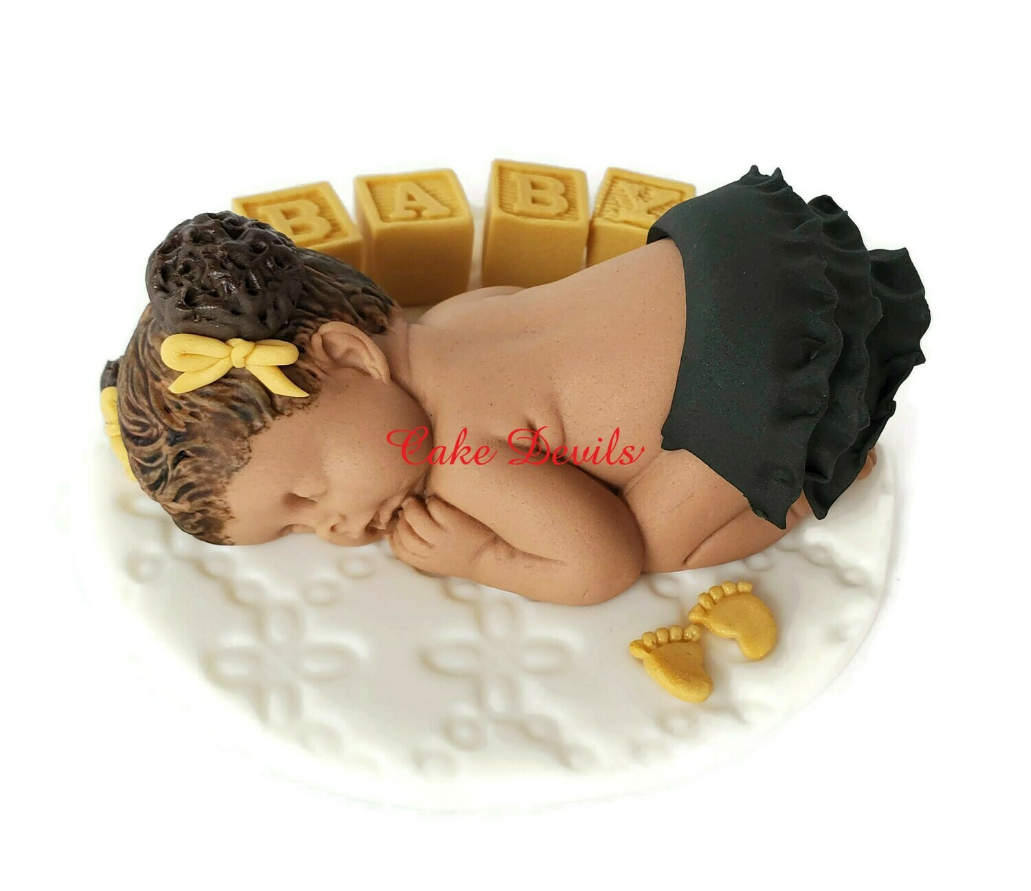 Fondant Baby Girl with Pigtail / Puff Hair Baby Shower Cake Topper, Fondant Baby Blocks and Feet, black and gold color theme shower!