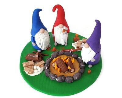 Fondant Gnomes Cake Topper, Gnomes around a Fire Pit making S'mores