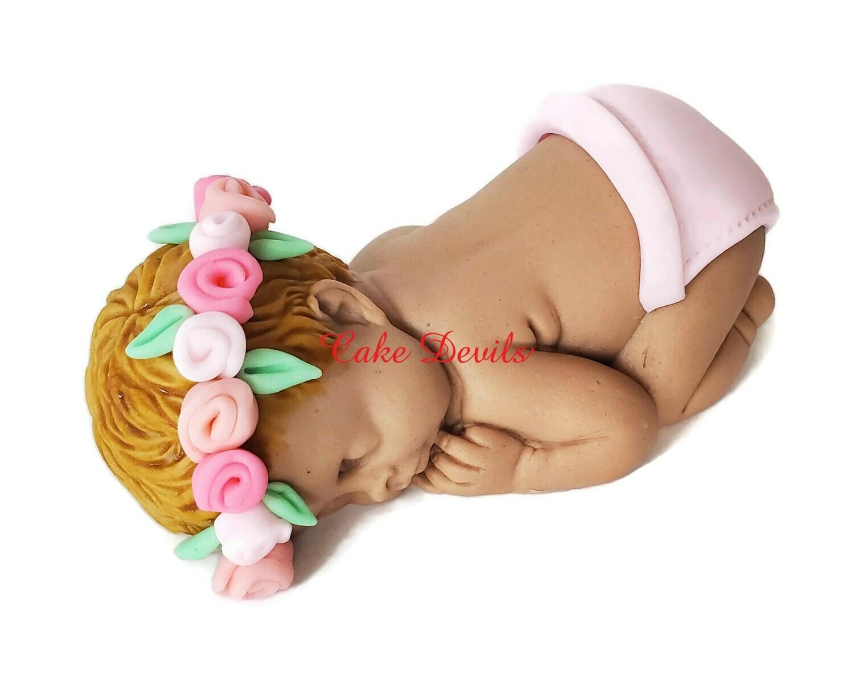 Baby girl with Flower Crown Headband Fondant Sleeping Baby Shower Cake Topper