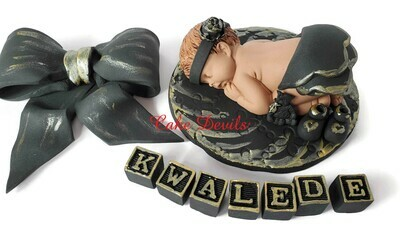 Black and Gold Baby Girl Fondant Baby shower cake topper with layered skirt and optional matching bow!