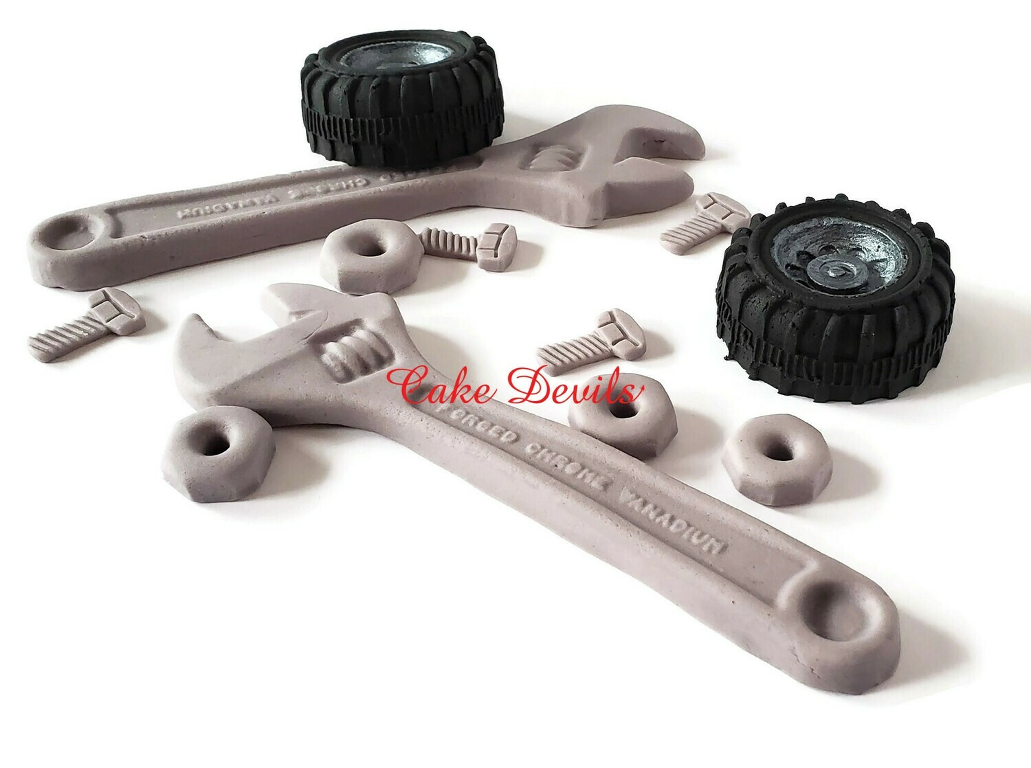 Mechanic Tools Cake Toppers, Fondant Wrenches and Tires Cake Decorations, Auto Mechanic
