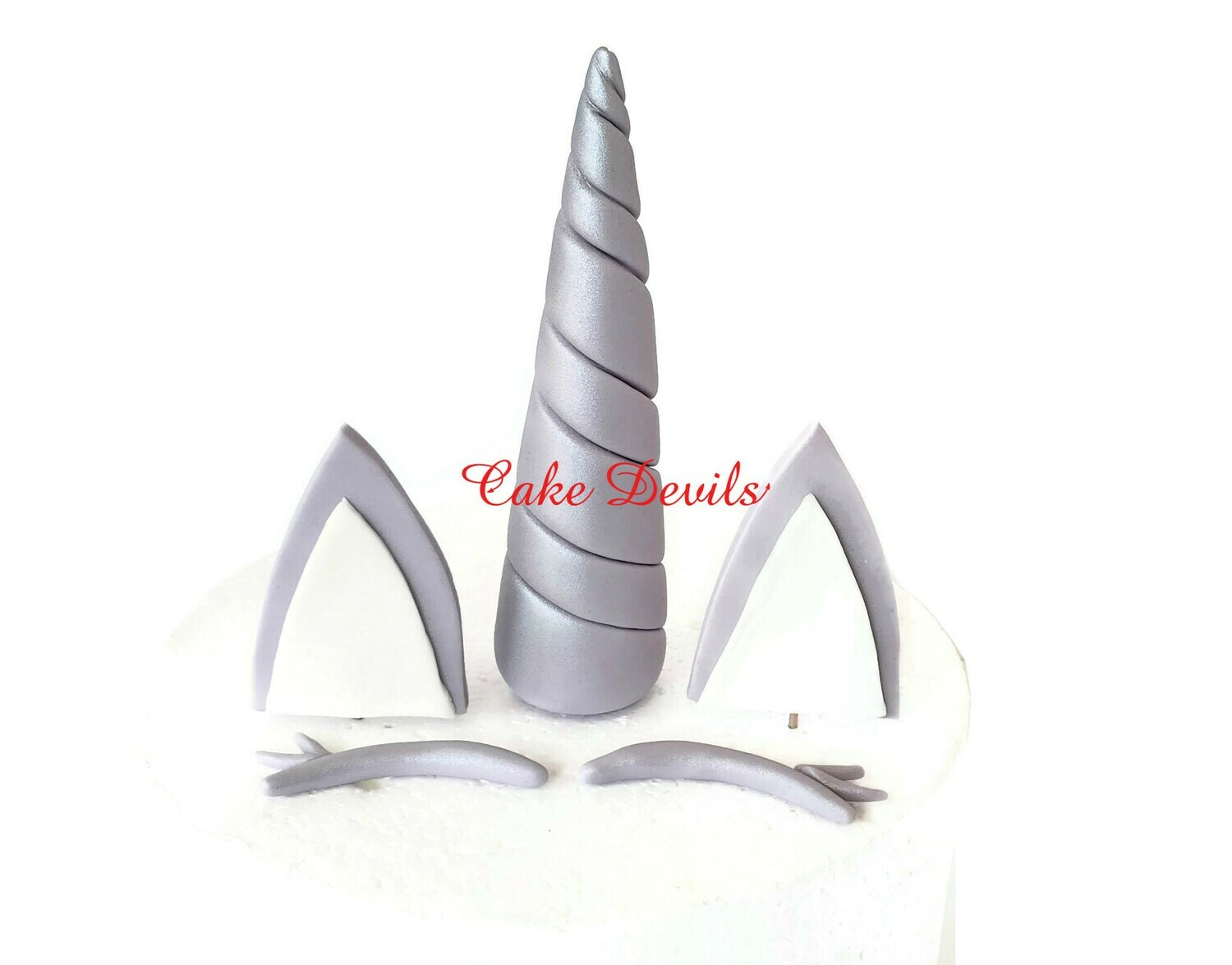 Winter Unicorn Horn, Ears, and Eye lashes Cake Toppers, Snow Unicorn Cake Kit