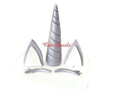 Winter Unicorn Horn, Ears, and Eye lashes Cake Toppers, Snow Unicorn Cake Kit