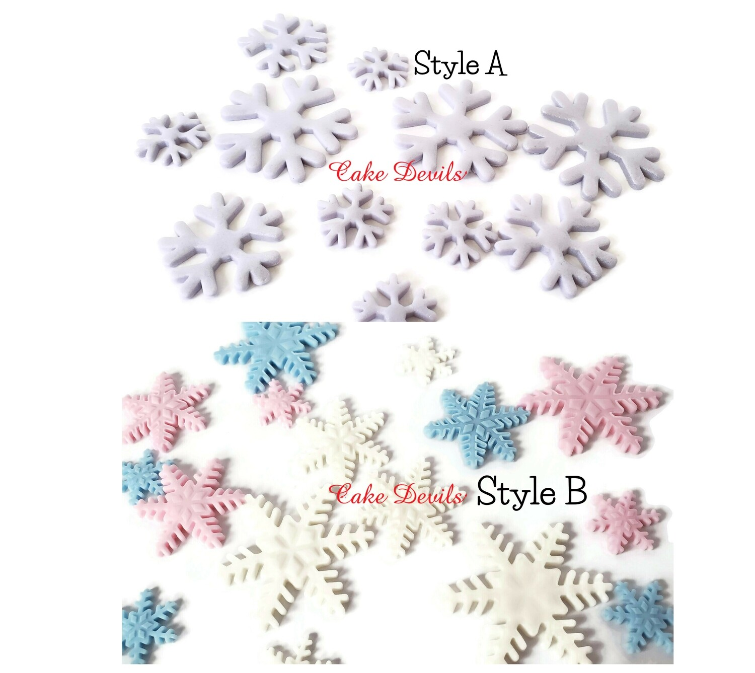 Fondant Snowflakes Cake Toppers and Snowballs Cake Decorations