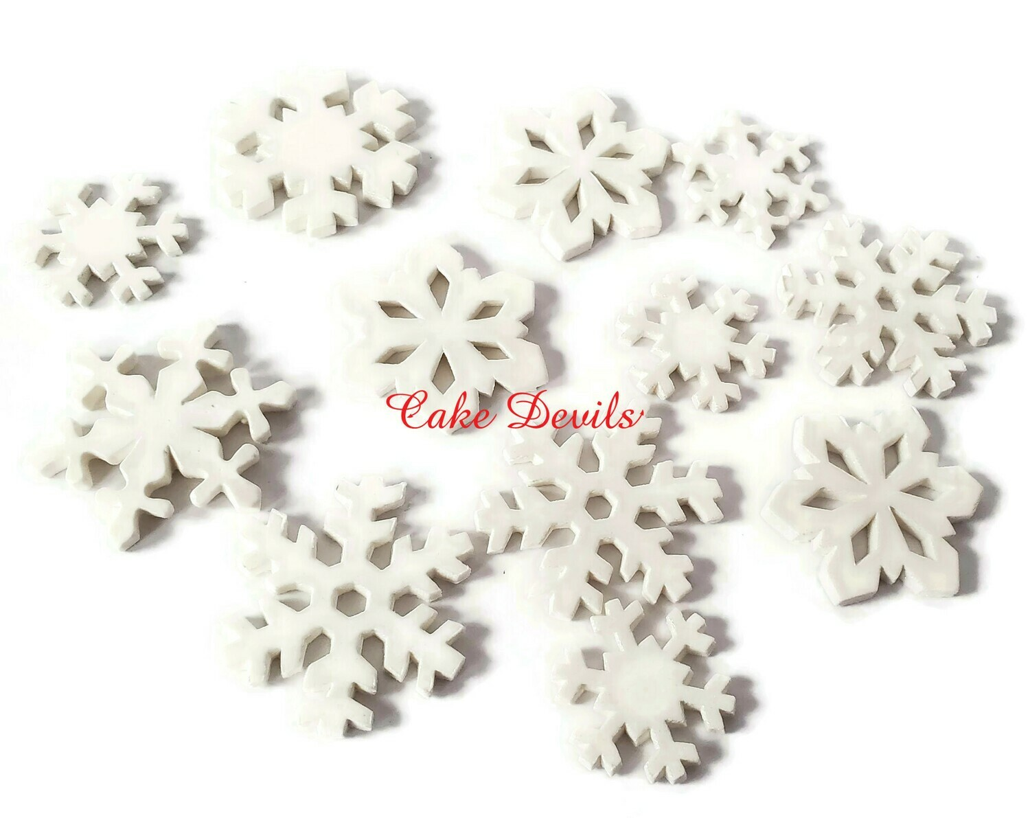 White Fondant Snowflakes Cake Decorations