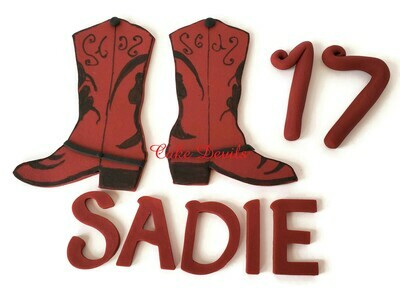 Fondant Cowgirl Cowboy Cake Toppers for a Country Western Birthday Party