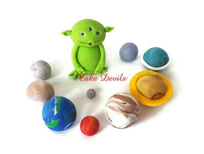 Fondant Alien and Planets Cake Toppers for Galaxy or Outer Space Cake