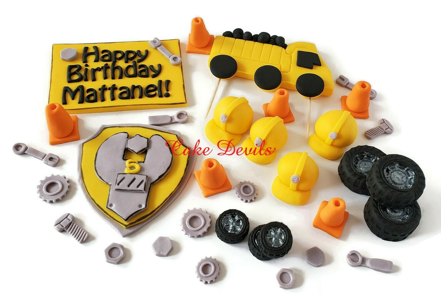 Fondant Construction Cake Toppers, Dump Truck, Hard Hats, Cones, Tires, Wrench