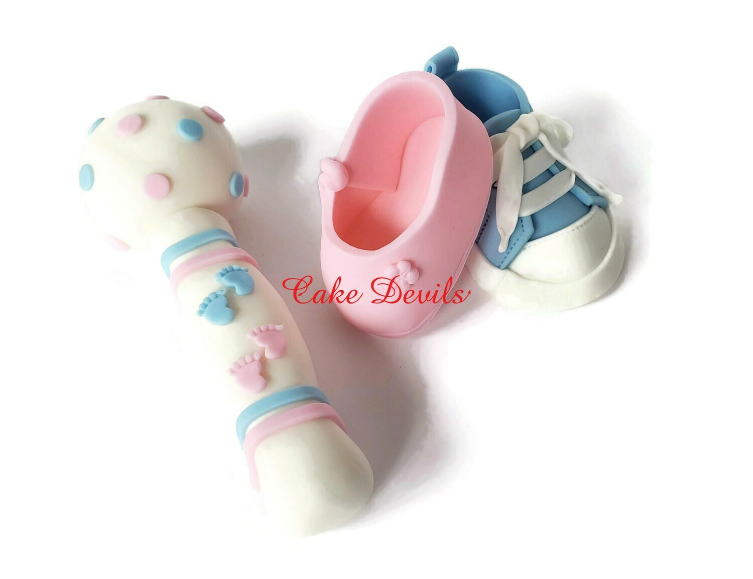 Gender Reveal Cake Toppers, Baby Rattle, Sneakers or ballet shoes Cake Decorations
