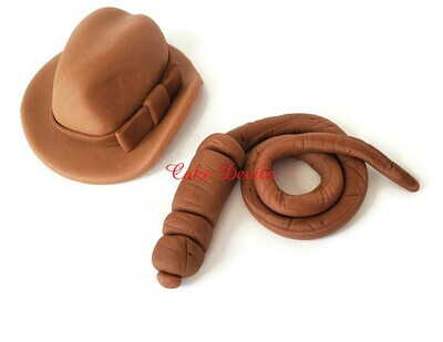 Indiana Jones Fedora Hat and Whip Cake Topper
