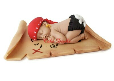 Fondant Pirate Baby Shower Cake Topper with Treasure Map, great for Jolly Roger, Buccaneer, or Ahoy Matey theme!