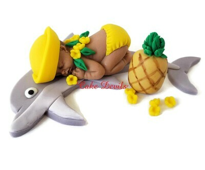 Fondant Dolphin Baby Cake Topper, Great for a Tropical Hawaiian Luau Baby Shower Cake