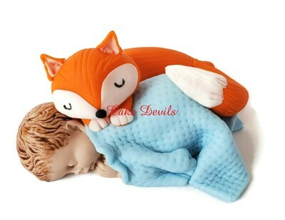 Fondant Baby and Fox Baby Shower Cake Topper - Perfect with the Woodland Creatures!