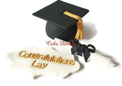 Graduation Fondant Cake Toppers - Graduation Cap, Congratulations Plaque, and Diploma