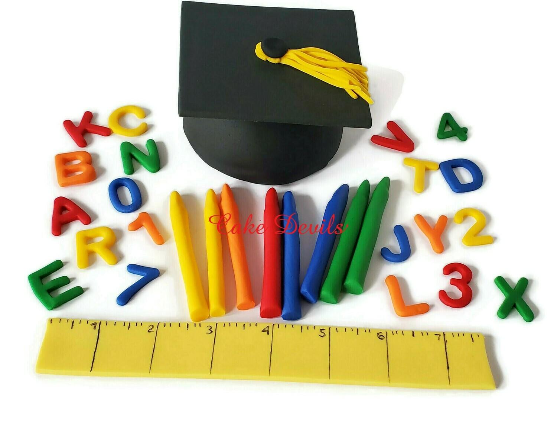 Fondant Preschool or Kindergarten Graduation Fondant Cake Toppers