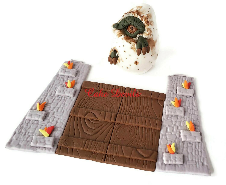 Fondant Dinosaur Eye in Egg And Jurassic Dinosaur Gate Doors Cake Toppers