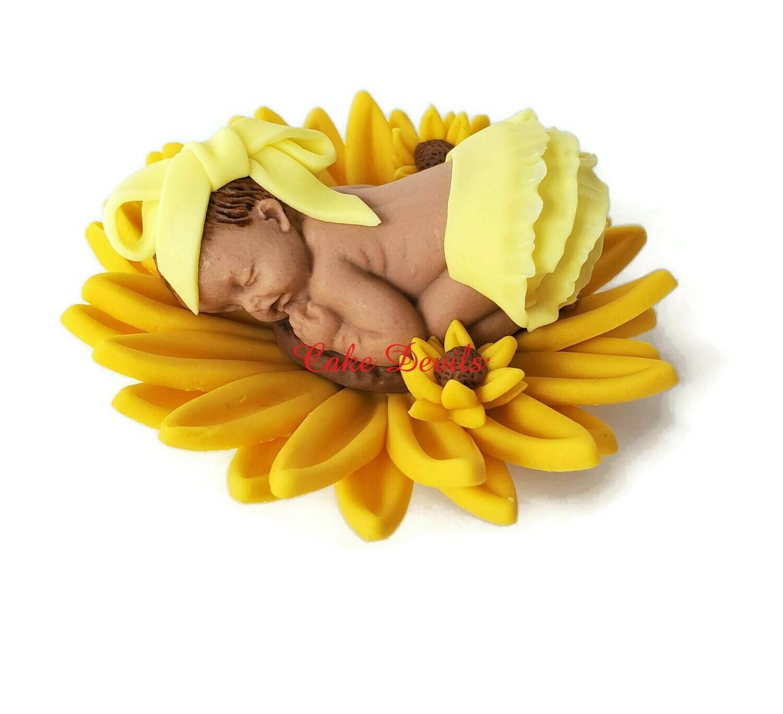 Fondant Baby in a Sunflower Baby Shower Cake Topper