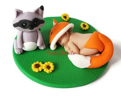 Fox Baby and Raccoon Woodland Creatures Fondant Baby Shower Cake Topper