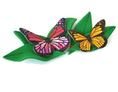 Monarch Butterfly Fondant Cake Topper or Pink Monarch Butterfly with leaves