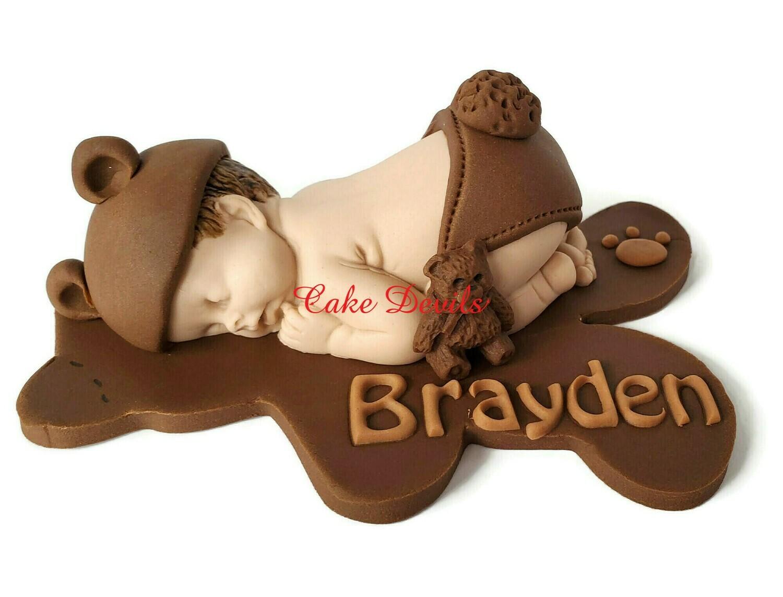 Fondant Teddy Bear Baby Shower Cake Topper