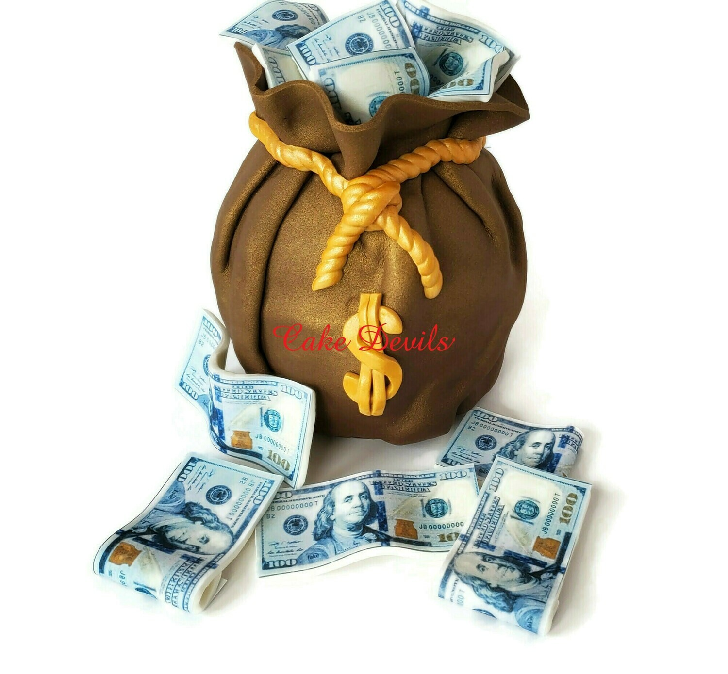 Fondant Money Bag and Edible Money $100 Bills Cake Toppers