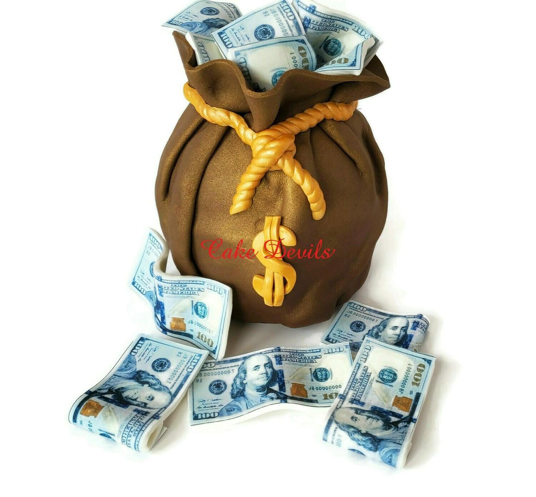 Fondant Money Bag and Edible Money $100 Bills Cake Toppers