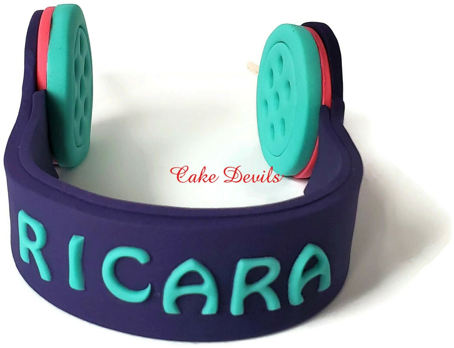 Fondant Headphones Cake Topper with Optional Name and Cell Phone, Perfect for your music lover, video watcher, or gamer