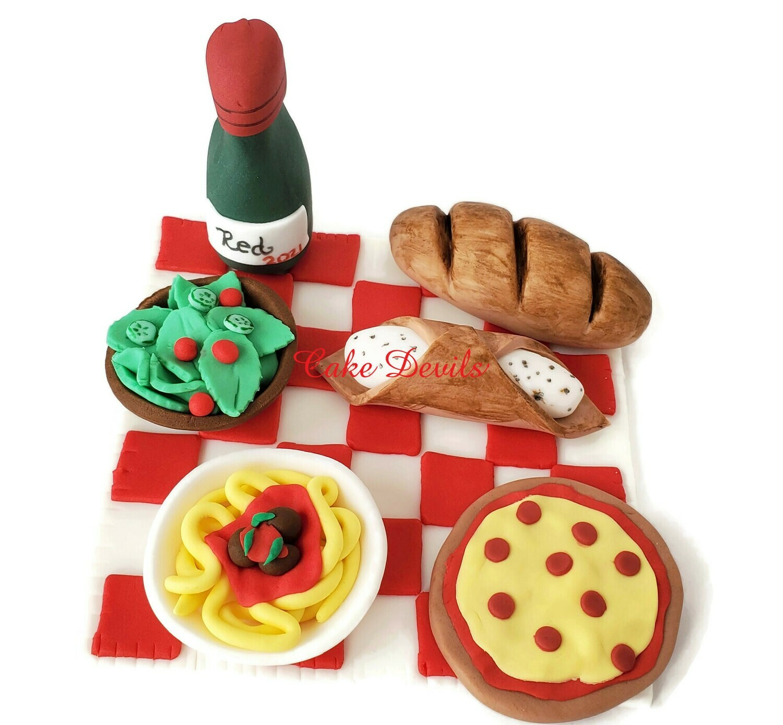 Fondant Italian Food Cake Toppers, Taste of Italy Food Cake Decorations