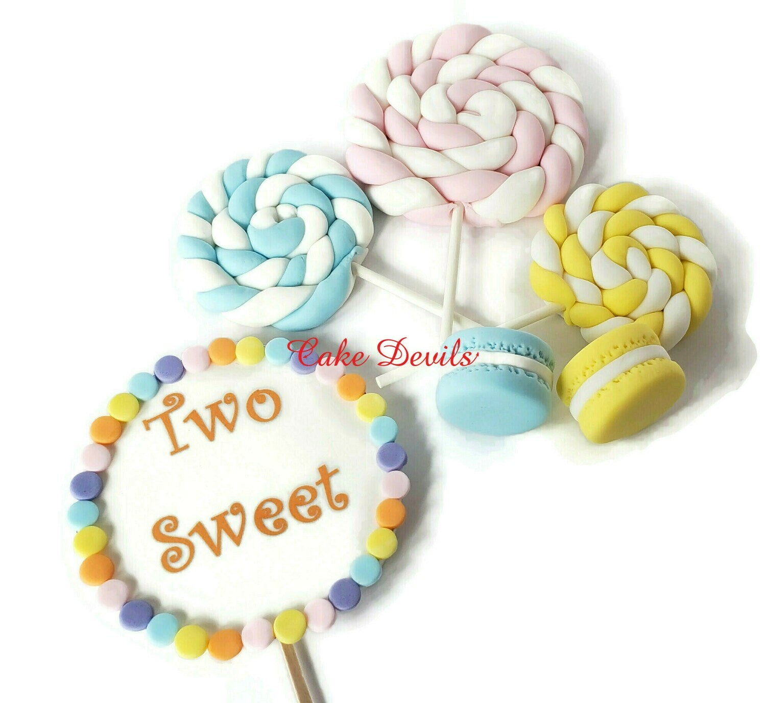 Two Sweet! Fondant Lollipop and Macarons Cake Toppers