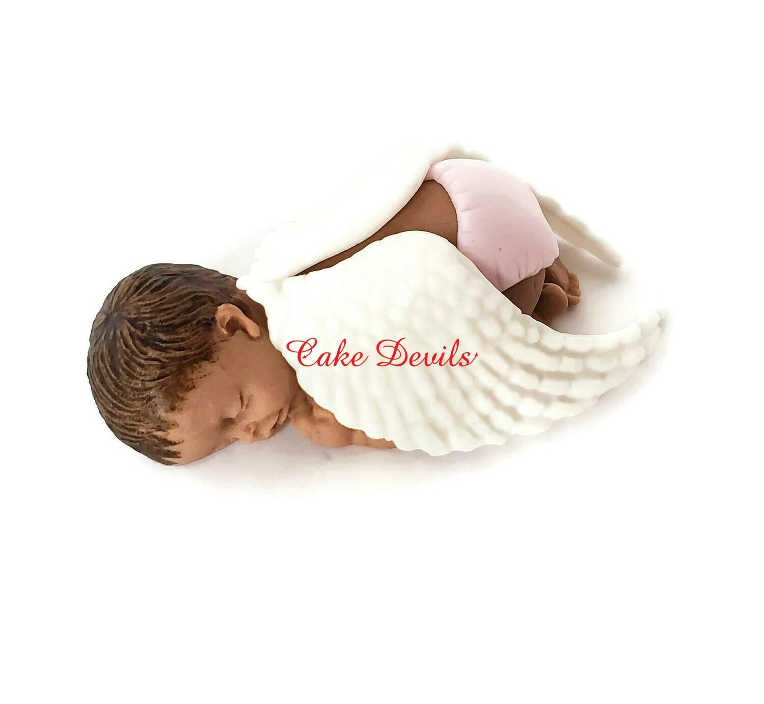 Angel Baby Shower Fondant Cake Topper, Sleeping baby with angel wings