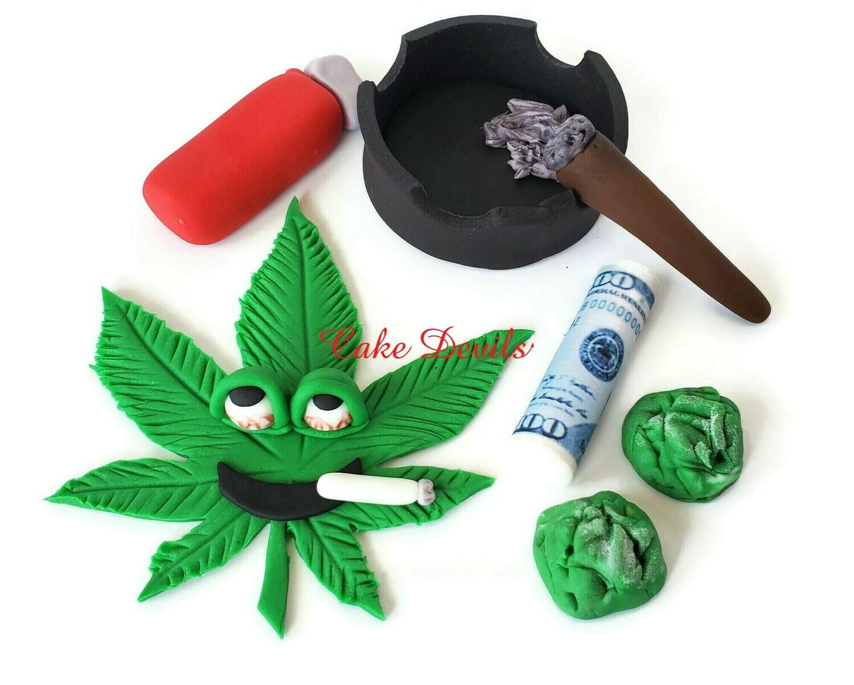 Fondant Pot Leaf, Weed, and Money Cake Topper Set (Made of sugar, not real Marijuana or money)