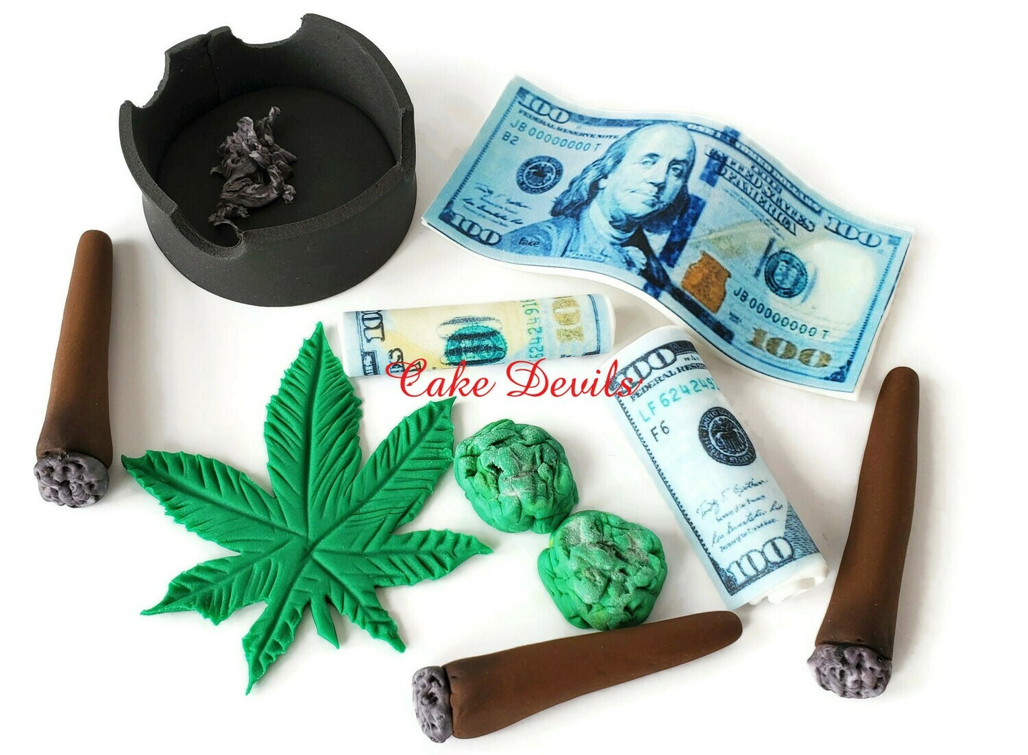 Fondant Rolled Blunt, Weed, and Edible Money Cake Toppers (Made of sugar, not real Marijuana or money)