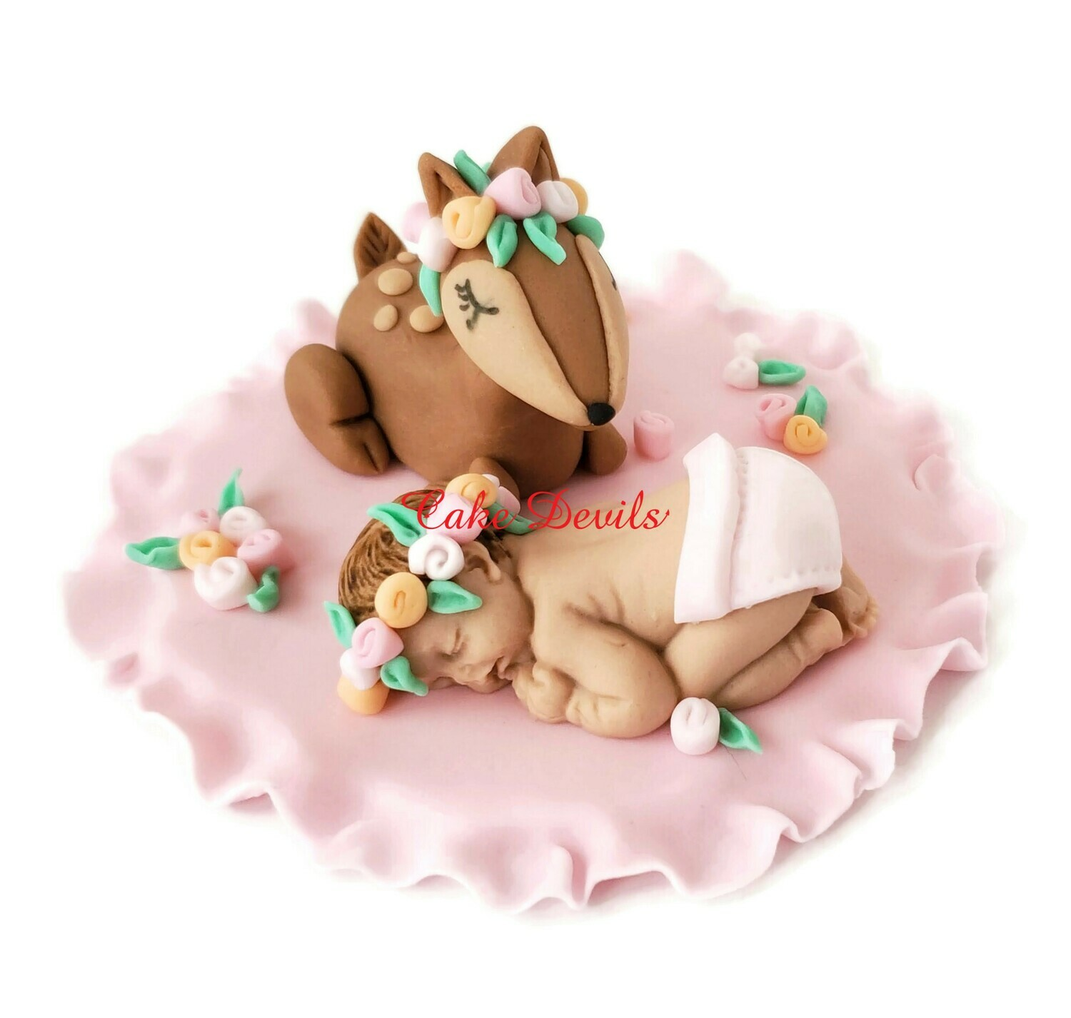 Baby Girl with Flower Crown and Floral Deer Woodland Creatures Fondant Baby Shower Cake Topper