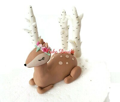 Fondant Deer with optional Flowers and Birch Trees great with the Woodland Animals Fondant Cake Toppers