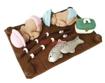 Fondant Fishing Baby Shower Cake Topper