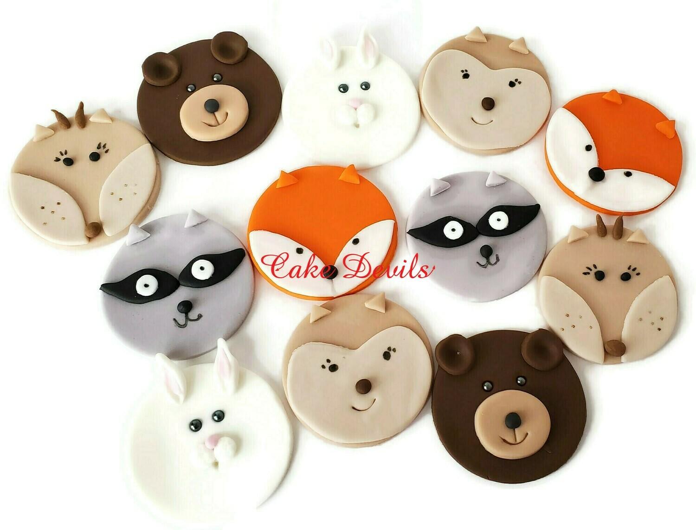 Woodland Animal Face Cupcake Toppers, Fondant Deer, Fox, Bunny Rabbit, Bear, Raccoon, Chipmunk