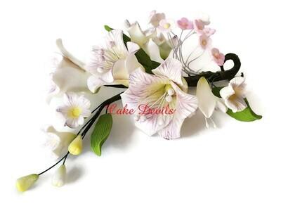 Fondant Flower Cake Topper Spray, Freesia Floral Wedding Cake Topper