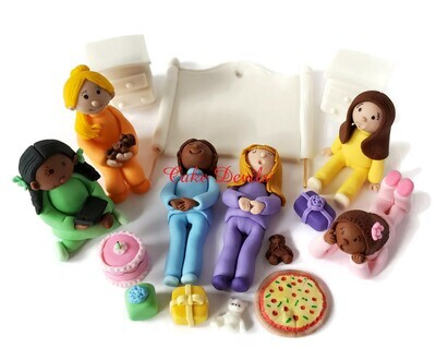 Fondant Slumber Party, Sleepover, Pajama Party Cake Toppers - Fondant Girls, food, and bed pieces