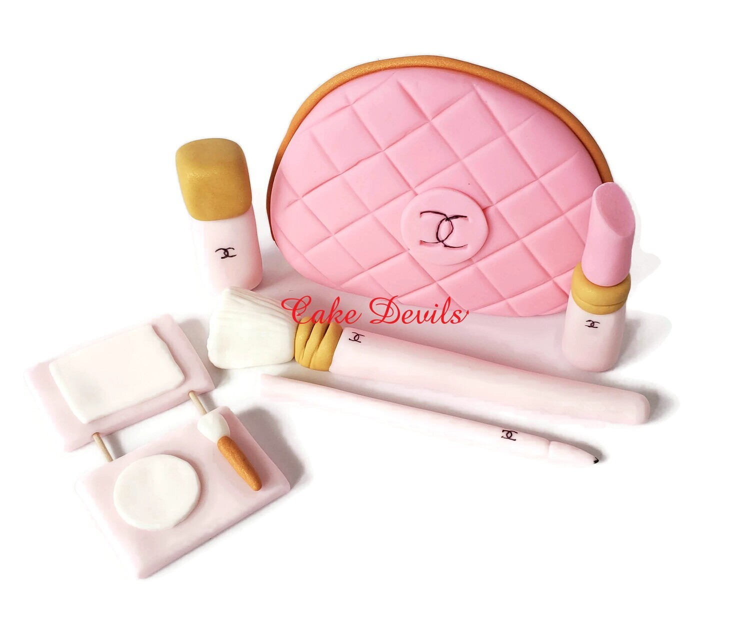 Fondant Makeup Cake Toppers with Cosmetic Bag Cake Decorations, Make up
