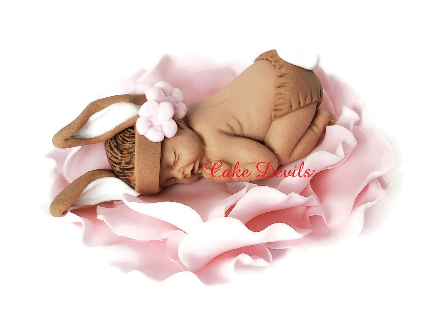 Fondant Bunny Baby Shower Cake Topper can be in a Flower for a Bunny Garden Party