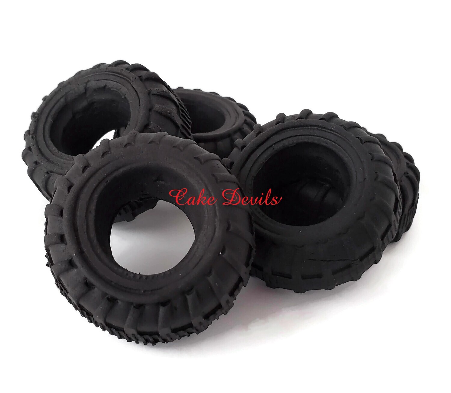 Fondant Tires Cake Decorations for Car or Truck Cake, Edible Tires for Cake and Cupcake Toppers