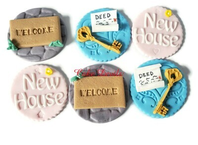 New House Fondant Cupcake Toppers, Perfect House Warming Gift for the New Home Owners-  Welcome Mat, Deed, Key, Door Mat