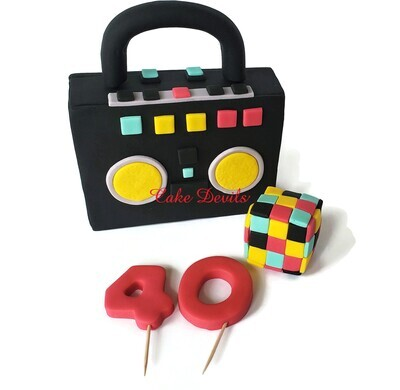 Fondant 80's 90's Music Theme Cake Toppers including Boombox, Cube and Age