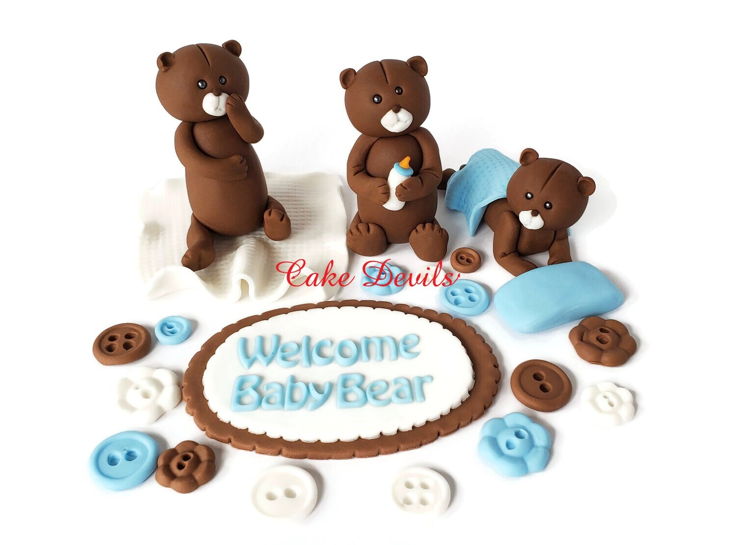 Fondant Teddy Bear Cake Toppers With Baby Bear Plaque and Fondant Buttons, great for a Baby Shower Cake