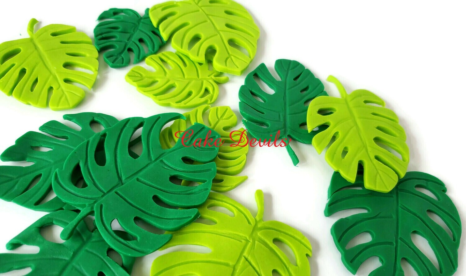 Fondant Palm Monstera Leaves Cake Toppers for a tropical or jungle cake