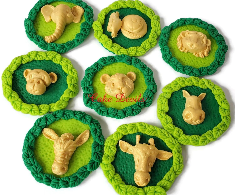 Fondant Gold Jungle Safari Animal Wreath Cupcake Toppers, Optional Palm Leaves