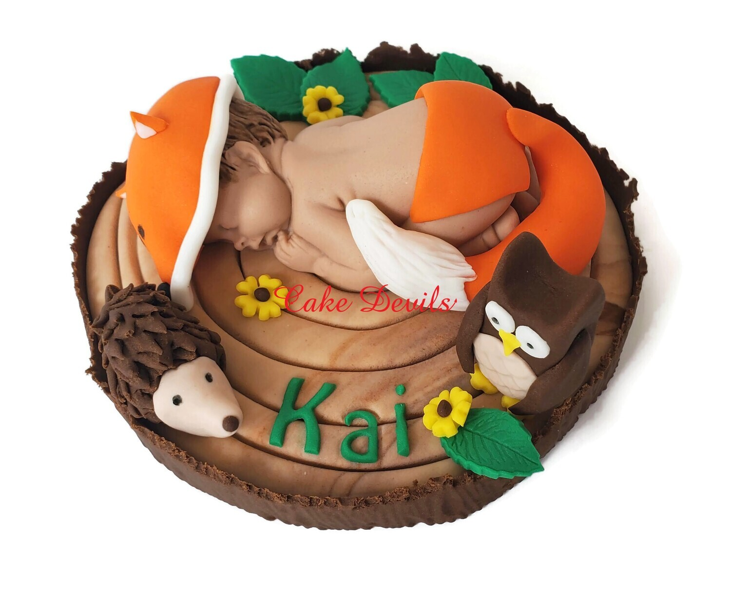 Fondant Fox Baby on Tree Stump Topper for a Woodland Creatures Baby Shower Cake- with Fondant Owl and Porcupine