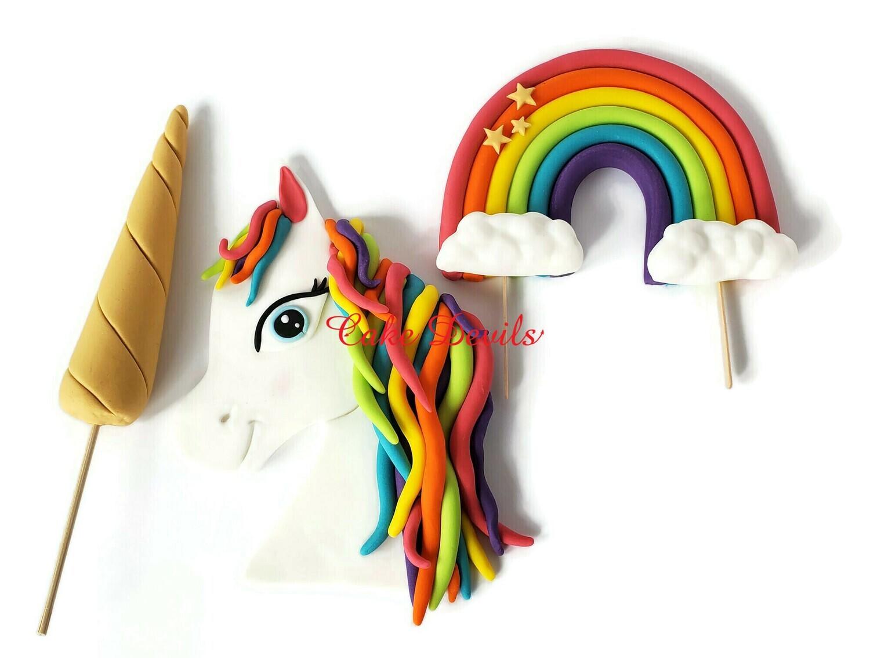 Fondant Unicorn Head, Horn, and Rainbow Cake Toppers